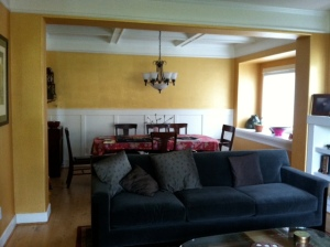 Before - Gold Paint, old light fixture, red rug